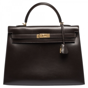 Hermes Cacao Box Calf Leather Gold Hardware Kelly Sellier 35 Bag