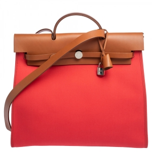 Hermes Natural/Rose Jaipur Canvas and Leather Herbag Zip 39 Bag