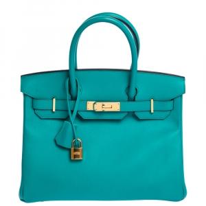Hermes Vert Veronese Epsom Leather Gold Hardware Birkin 30 Bag