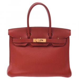 Hermes Vermilion Red Togo Leather Gold Hardware Birkin 30 Bag