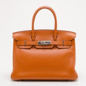 Hermes Orange Togo Leather Palladium Birkin 30 Bag