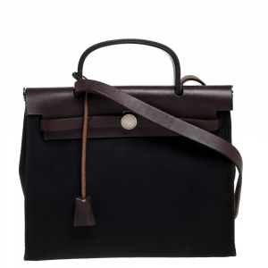 Hermes Black/Brown Canvas and Leather Herbag Zip 31 Bag