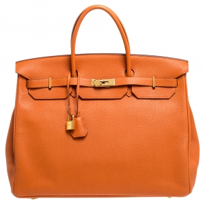 Hermes Feu Togo Leather Gold Hardware Birkin 40 Bag