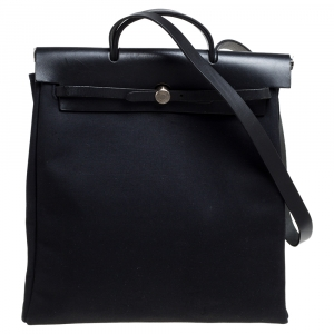 Hermes Black Canvas and Leather Herbag 39 Bag