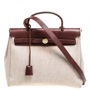Hermes Chocolate Brown/Beige Toile and Leather Herbag 31 Bag