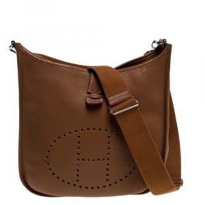 Hermes Gold Taurillon Clemence Leather Evelyne III GM Bag