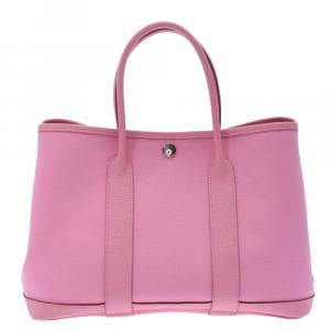 Hermes Pink Leather Garden Party Medium Tote Bag