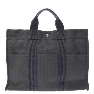 Hermes Grey Canvas Herline MM Bag