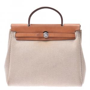 Hermes Beige and Brown Toile  Canvas Herbag PM Bag