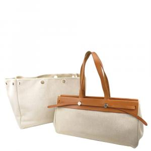 Hermes Brown Canvas Herbag Cabas GM Bag