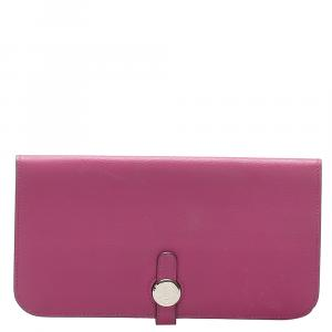 Hermes Pink Leather Dogon Long Wallet