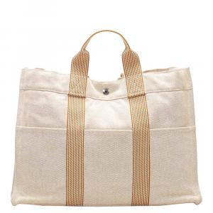 Hermes Cream Toile Fourré Tout MM Bag