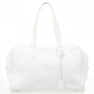 Hermes White Leather Victoria Elan Bag