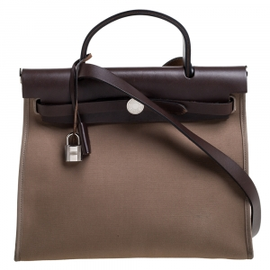 Hermes Khaki/Brown Canvas and Leather Herbag Zip 31 Bag