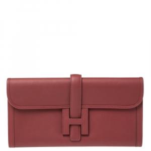 Hermes Rouge Grenat Swift Leather Elan 29 Jige Clutch