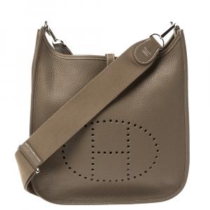 Hermes Etoupe Grey Togo Leather Evelyne III PM Bag