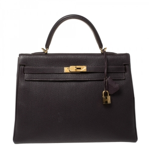 Hermes Raisin Togo Leather Gold Hardware Kelly Retourne 35 Bag