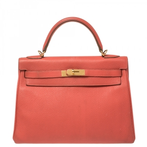 Hermes Rose Jaipur Clemence Leather Gold Hardware Kelly Retourne 32 Bag