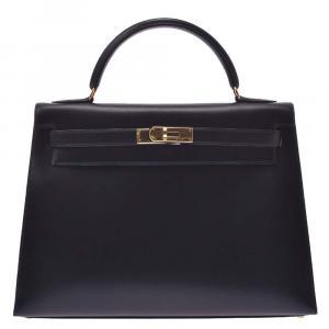 Hermes Black Box Leather Kelly Sellier 32 Bag