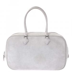 Hermes White Leather Plume Bag