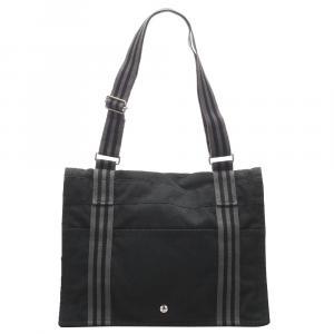 Hermes Black Canvas Fourre Tout Besace MM Bag