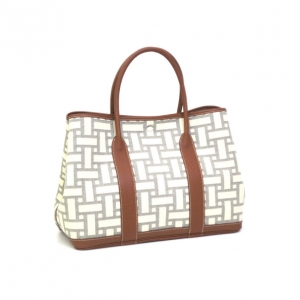 Hermes Ivory and Brown Garden Party Tote
