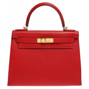 Hermes Rouge Casaque Epsom Leather Gold Hardware Kelly Sellier 28 Bag