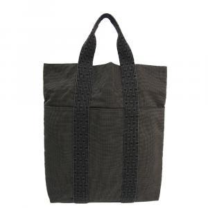 Hermes Grey Canvas Herline Cabas Tote Bag