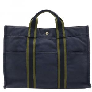 Hermes Navy Blue Fourre Tout MM Tote Bag