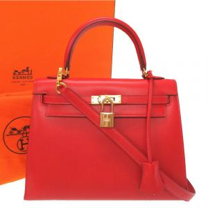 Hermes Red Leather Box Kelly 25 Bag