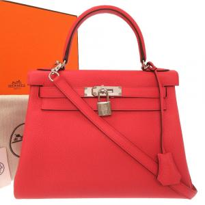 Hermes Red Leather Kelly 28 Bag