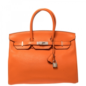 Hermes Orange Poppy Clemence Leather Palladium Hardware Birkin 35 Bag
