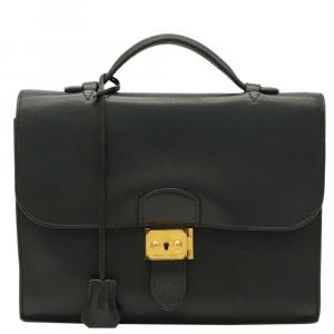 Hermes Black Leather Togo Sac a Depeches 27 Bag