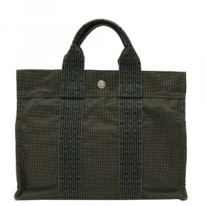 Hermes Green Canvas Herine Tote PM Bag