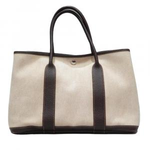 Hermes Beige Canvas Garden Party PM Tote Bag