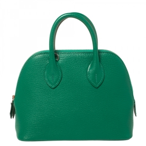 Hermès Vert Vertigo Chevre Mysore Leather Mini Bolide 1923 Bag