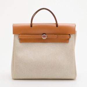 Hermes Tan Leather and Beige Toile Canvas Herbag