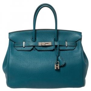 Hermes Cobalt Togo Leather Palladium Hardware Birkin 35 Bag