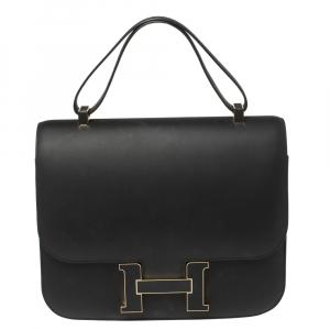 Hermes Black Sombrero Leather Gold Hardware Constance Cartable 29 Bag