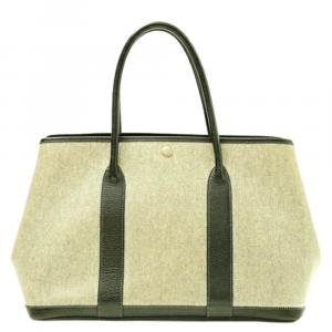 Hermes Ivory/Brown Leather-trimmed Canvas Garden Party PM Bag