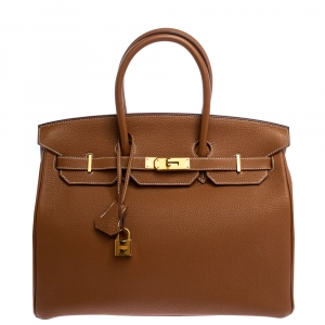 Hermes Brown Togo Leather Gold Hardware Birkin 35 Bag