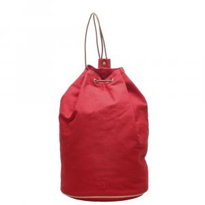 Hermes Red Canvas Polochon Backpack