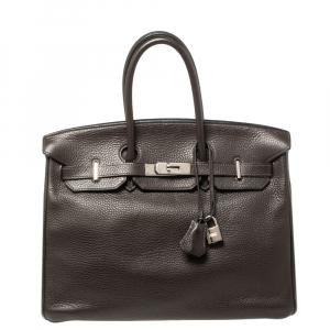 Hermes Macassar Clemence Leather Palladium Hardware Birkin 35 Bag