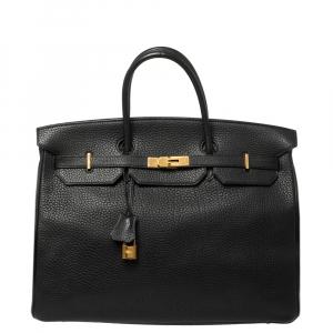 Hermes Black Fjord Leather Gold Hardware Birkin 40 Bag