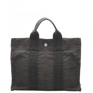 Hermes Grey Canvas  Fourre Tout PM Tote Bag