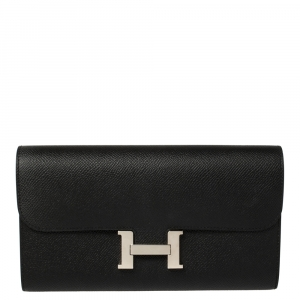 Hermes Black Epsom Constance Long  Wallet