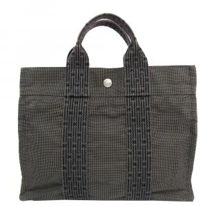 Hermes Grey Canvas Herline PM Tote Bag