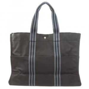Hermes Black Canvas Fourre Tout GM Tote Bag