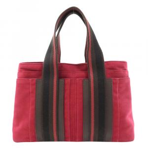 Hermes Red Canvas Sac Troca Horizontal PM Bag