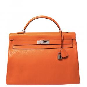 حقيبة هيرمس كيلي ريتورن 40 جلد كليمينسي برتقالي إكسسوار بلاديوم